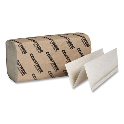 Multifold Paper Towels, 1-Ply, 9.1 x 9.3, Natural Kraft, 250/Pack, 16 Packs/Carton. Picture 1