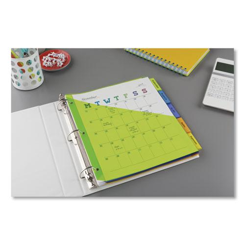 Insertable Big Tab Plastic 1-Pocket Dividers, 5-Tab, 11.13 x 9.25, Assorted, 1 Set. Picture 5