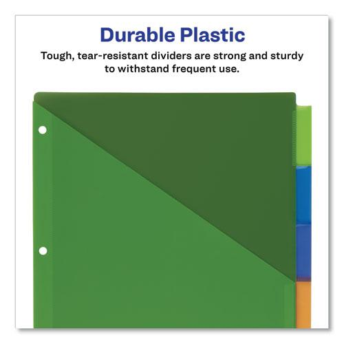 Insertable Big Tab Plastic 2-Pocket Dividers, 5-Tab, 11.13 x 9.25, Assorted, 1 Set. Picture 6