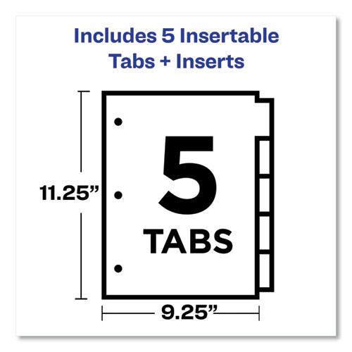 Insertable Big Tab Plastic 1-Pocket Dividers, 5-Tab, 11.13 x 9.25, Assorted, 1 Set. Picture 2
