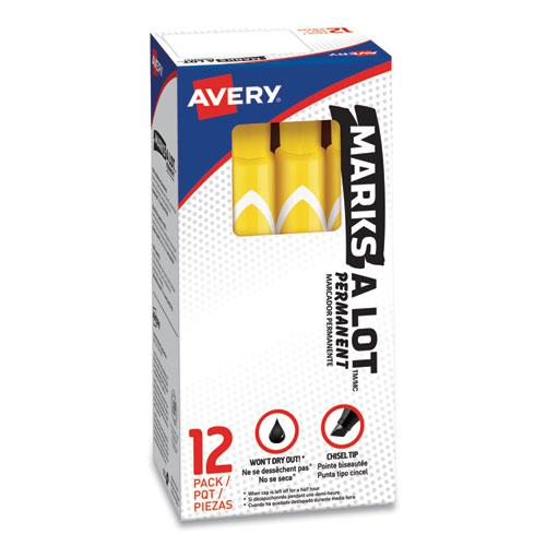 MARKS A LOT Large Desk-Style Permanent Marker, Broad Chisel Tip, Yellow, Dozen, (8882). Picture 1