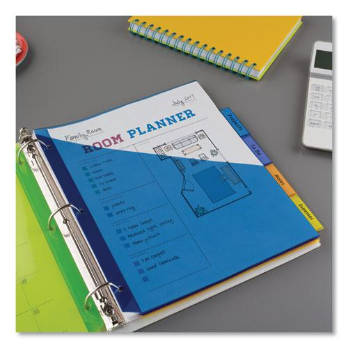 Insertable Big Tab Plastic 2-Pocket Dividers, 5-Tab, 11.13 x 9.25, Assorted, 1 Set. Picture 9