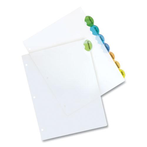 Insertable Style Edge Tab Plastic Dividers, 8-Tab, 11 x 8.5, Translucent, 1 Set. Picture 3