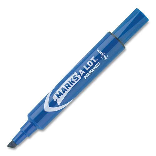 MARKS A LOT Regular Desk-Style Permanent Marker, Broad Chisel Tip, Blue, Dozen, (7886). Picture 8