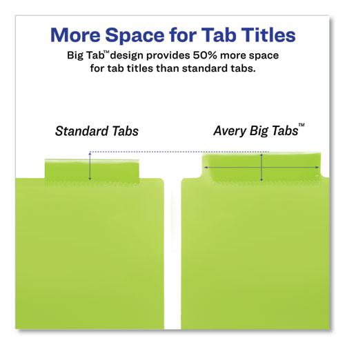 Insertable Big Tab Plastic 2-Pocket Dividers, 5-Tab, 11.13 x 9.25, Assorted, 1 Set. Picture 2