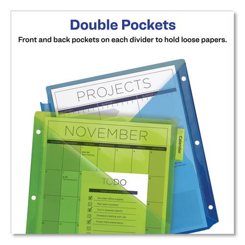 Insertable Big Tab Plastic 2-Pocket Dividers, 5-Tab, 11.13 x 9.25, Assorted, 1 Set. Picture 5