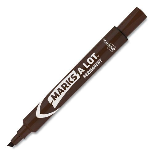 MARKS A LOT Large Desk-Style Permanent Marker, Broad Chisel Tip, Brown, Dozen, (8881). Picture 6