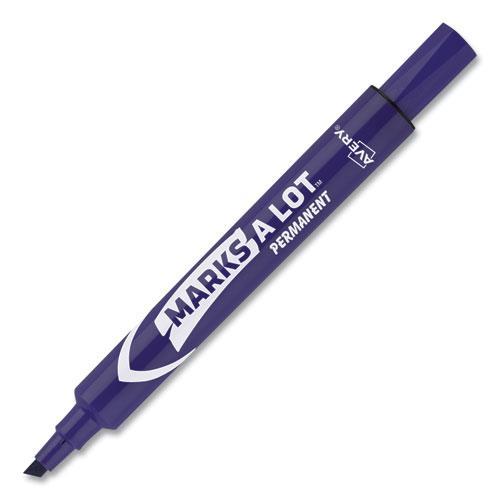 MARKS A LOT Large Desk-Style Permanent Marker, Broad Chisel Tip, Purple, Dozen, (8884). Picture 2
