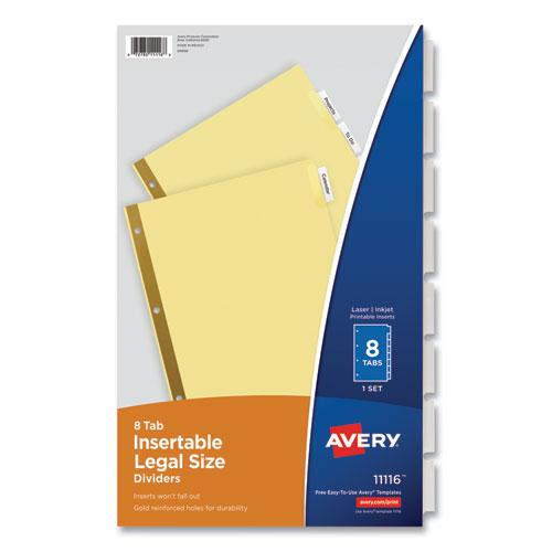 Insertable Standard Tab Dividers, 8-Tab, Legal. Picture 1