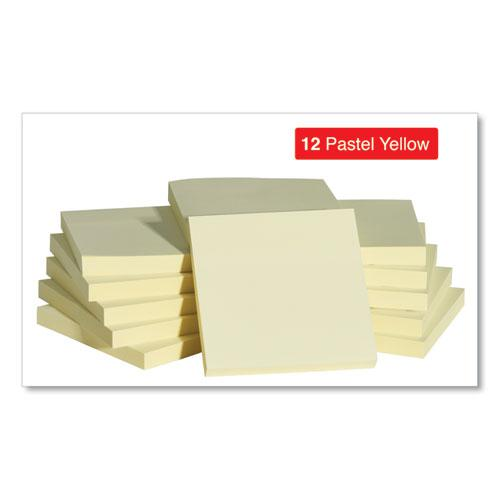 Self-Stick Note Pads, 3 x 3, Yellow, 100-Sheet, 12/Pack. Picture 3