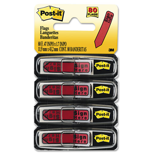 """Arrow Message 1/2"""" Page Flags in Dispenser, """"Sign Here"""", Red, 80/Pack. Picture 1"""