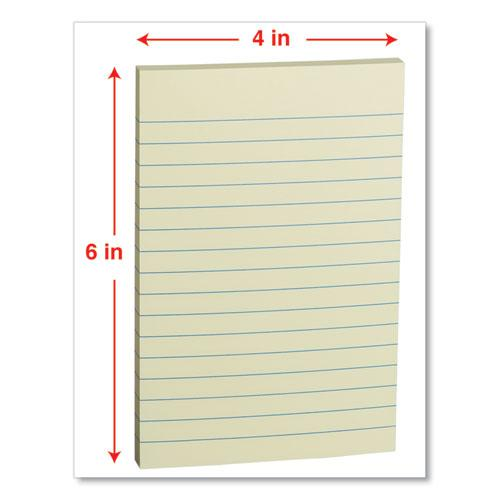 Self-Stick Note Pads, Lined, 4 x 6, Yellow, 100-Sheet, 12/Pack. Picture 2