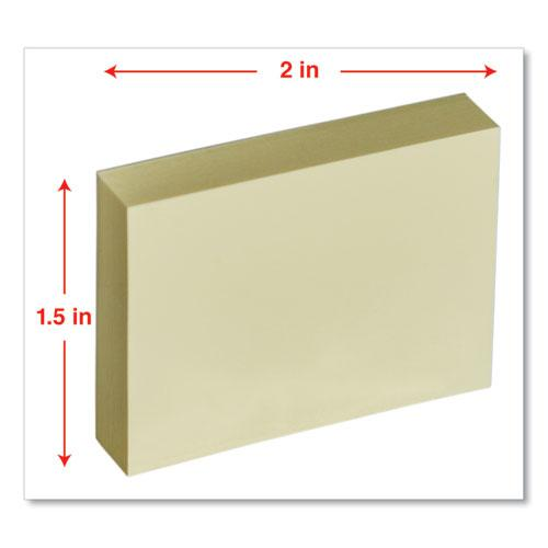 Self-Stick Note Pads, 1 1/2 x 2, Yellow, 12 100-Sheet/Pack. Picture 3