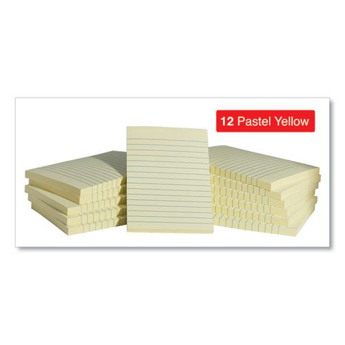 Self-Stick Note Pads, Lined, 4 x 6, Yellow, 100-Sheet, 12/Pack. Picture 3
