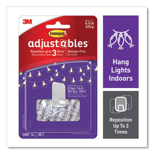 Adjustables Repositionable Mini Clips, Plastic, White, 0.5 lb Capacity, 14 Clips and 12 Strips. Picture 1
