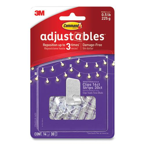 Adjustables Repositionable Mini Clips, Plastic, White, 0.5 lb Capacity, 14 Clips and 12 Strips. Picture 5
