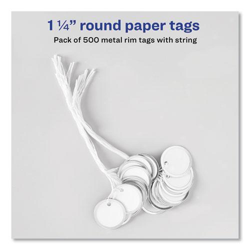 Heavyweight Stock Metal Rim Tags, 1 1/4 dia, White, 500/Box. Picture 7