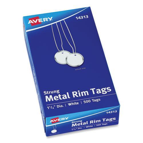 Heavyweight Stock Metal Rim Tags, 1 1/4 dia, White, 500/Box. Picture 1