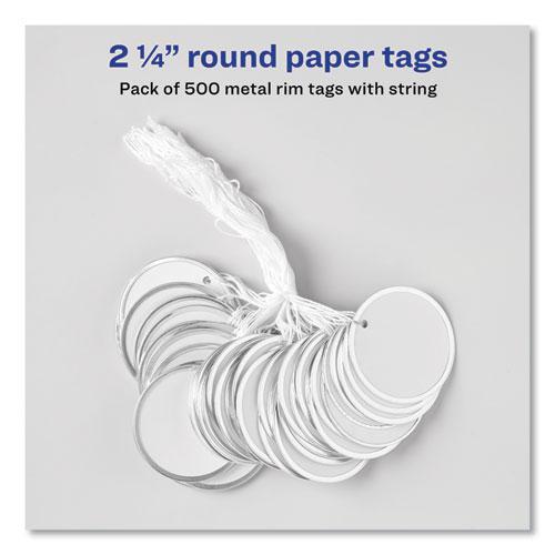 Heavyweight Stock Metal Rim Tags, 2 1/4 dia, White, 500/Box. Picture 7