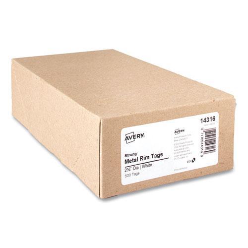 Heavyweight Stock Metal Rim Tags, 2 1/4 dia, White, 500/Box. Picture 3