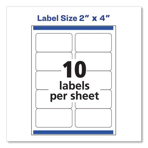 Shipping Labels w/ TrueBlock Technology, Inkjet Printers, 2 x 4, White, 10/Sheet, 100 Sheets/Box. Picture 3