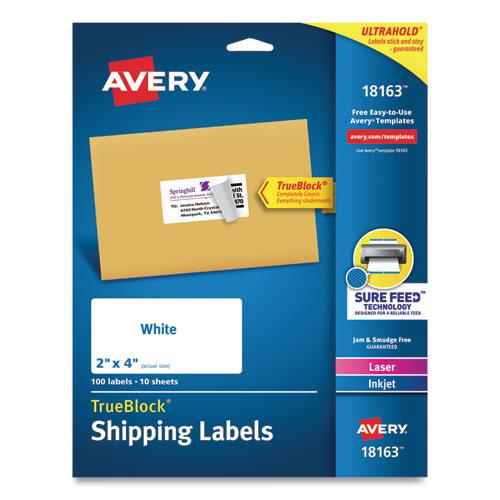 Shipping Labels w/ TrueBlock Technology, Inkjet Printers, 2 x 4, White, 10/Sheet, 10 Sheets/Pack. Picture 1