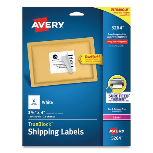 Shipping Labels w/ TrueBlock Technology, Laser Printers, 3.33 x 4, White, 6/Sheet, 25 Sheets/Pack. Picture 1