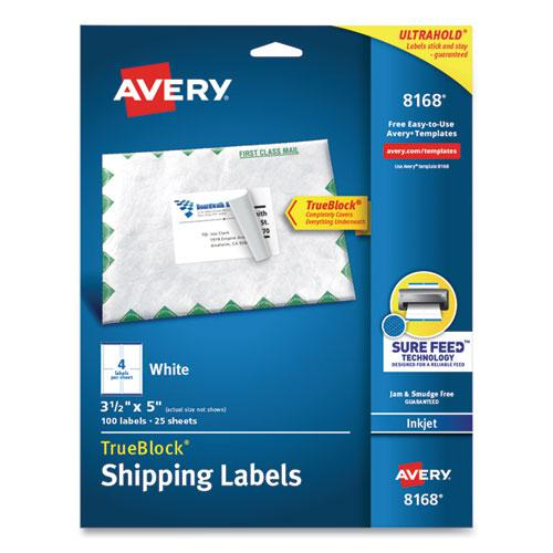 Shipping Labels w/ TrueBlock Technology, Inkjet Printers, 3.5 x 5, White, 4/Sheet, 25 Sheets/Pack. Picture 1