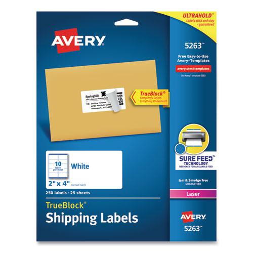 Shipping Labels w/ TrueBlock Technology, Laser Printers, 2 x 4, White, 10/Sheet, 25 Sheets/Pack. Picture 1