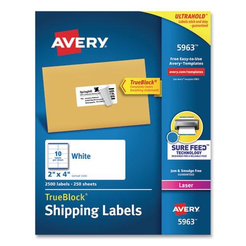 Shipping Labels w/ TrueBlock Technology, Laser Printers, 2 x 4, White, 10/Sheet, 250 Sheets/Box. Picture 1