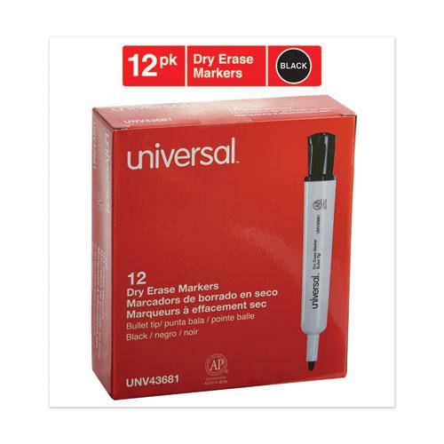 Dry Erase Marker, Medium Bullet Tip, Black, Dozen. Picture 2
