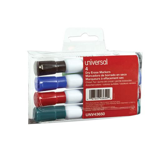 Dry Erase Marker, Broad Chisel Tip, Assorted Colors, 4/Set. Picture 1