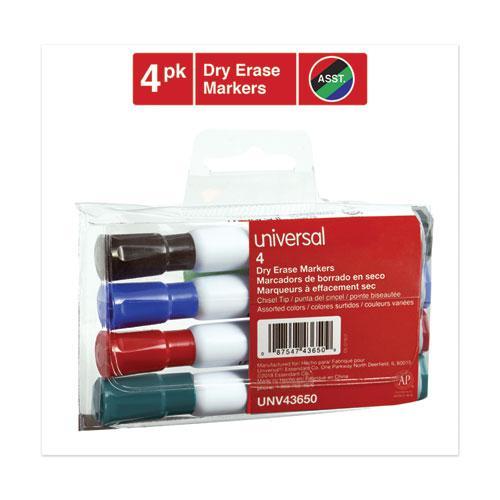 Dry Erase Marker, Broad Chisel Tip, Assorted Colors, 4/Set. Picture 3
