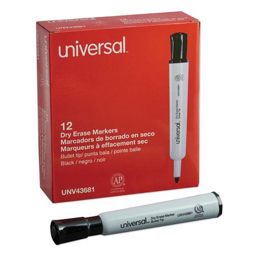 Dry Erase Marker, Medium Bullet Tip, Black, Dozen. Picture 1