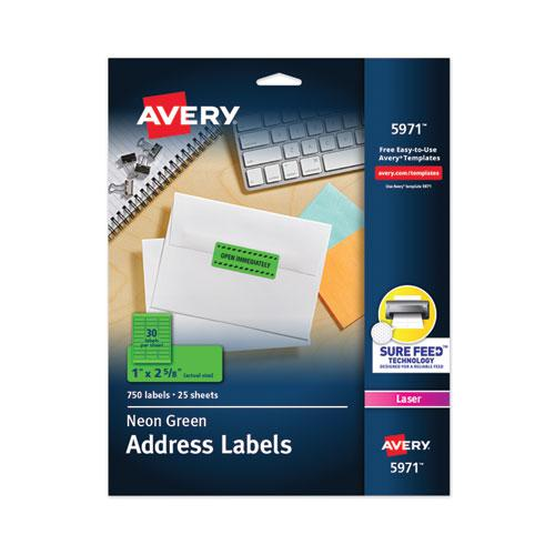 High-Visibility Permanent Laser ID Labels, 1 x 2 5/8, Neon Green, 750/Pack. Picture 1