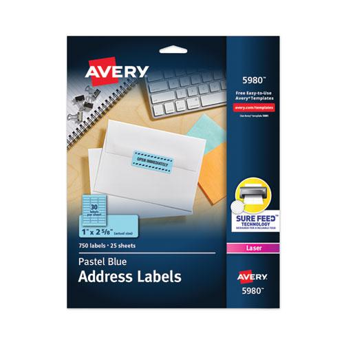 High-Visibility Permanent Laser ID Labels, 1 x 2 5/8, Pastel Blue, 750/Pack. Picture 1