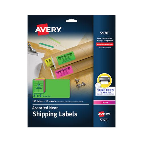 High-Visibility Permanent Laser ID Labels, 2 x 4, Asst. Neon, 150/Pack. Picture 1