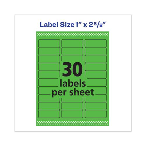 High-Visibility Permanent Laser ID Labels, 1 x 2 5/8, Neon Green, 750/Pack. Picture 4