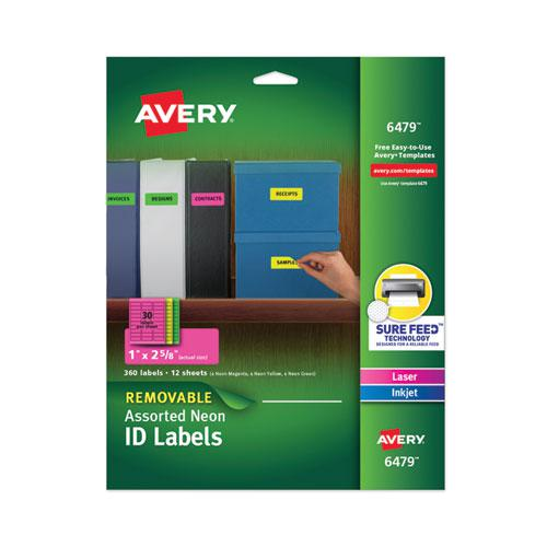 High-Vis Removable Laser/Inkjet ID Labels w/ Sure Feed, 1 x 2 5/8, Neon, 360/PK. Picture 1