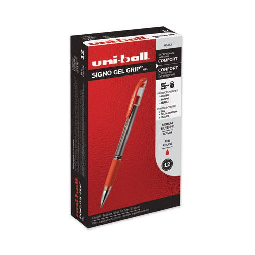 Signo GRIP Gel Pen, Stick, Medium 0.7 mm, Red Ink, Silver/Red Barrel, Dozen. Picture 1