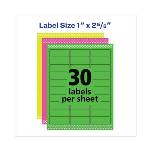 High-Visibility Permanent Laser ID Labels, 1 x 2 5/8, Asst. Neon, 450/Pack. Picture 5