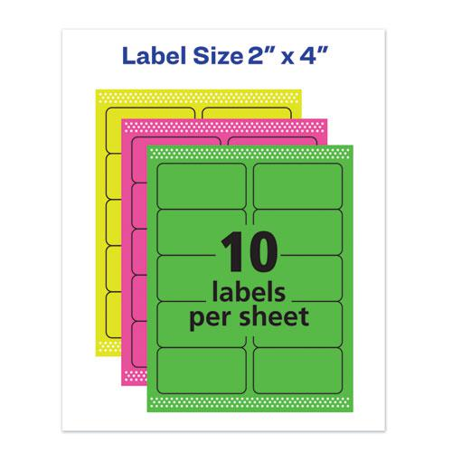 High-Visibility Permanent Laser ID Labels, 2 x 4, Asst. Neon, 150/Pack. Picture 2
