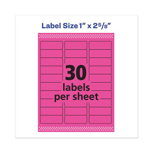 High-Visibility Permanent Laser ID Labels, 1 x 2 5/8, Neon Magenta, 750/Pack. Picture 5