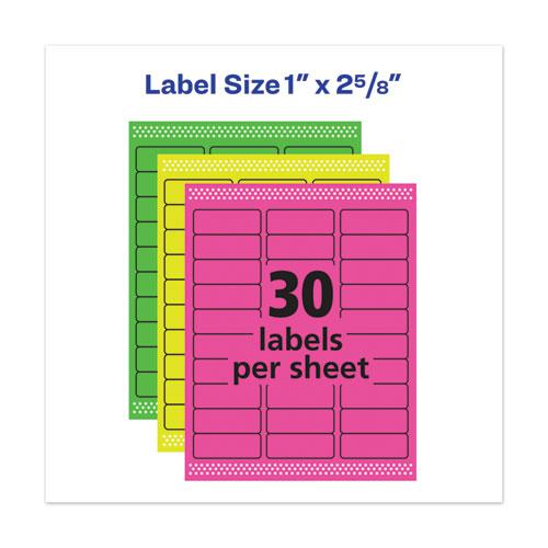 High-Vis Removable Laser/Inkjet ID Labels w/ Sure Feed, 1 x 2 5/8, Neon, 360/PK. Picture 5