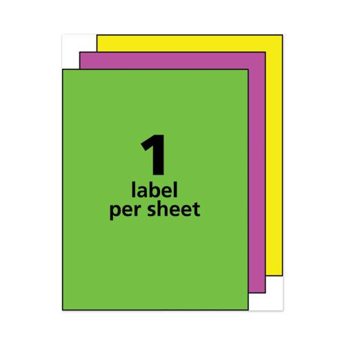 High-Visibility Permanent Laser ID Labels, 8.5 x 11, Asst. Neon, 15/Pack. Picture 4
