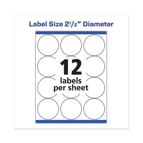 "Permanent Laser Print-to-the-Edge ID Labels w/SureFeed, 2 1/2""dia, White, 300/PK. Picture 7"