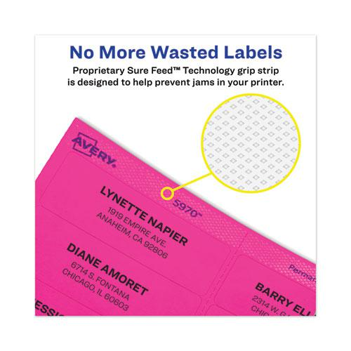 High-Vis Removable Laser/Inkjet ID Labels w/ Sure Feed, 1 x 2 5/8, Neon, 360/PK. Picture 6