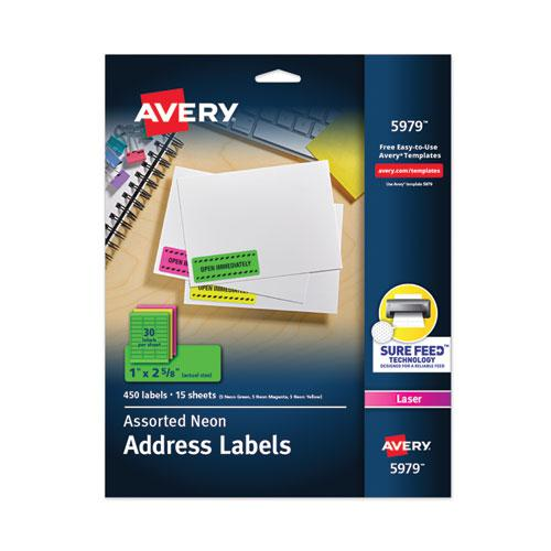 High-Visibility Permanent Laser ID Labels, 1 x 2 5/8, Asst. Neon, 450/Pack. Picture 1