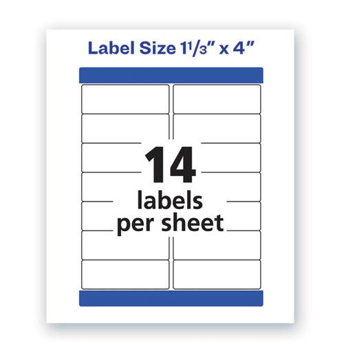 Waterproof Address Labels with TrueBlock and Sure Feed, Laser Printers, 1.33 x 4, White, 14/Sheet, 50 Sheets/Pack. Picture 2