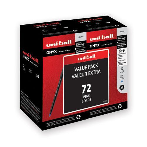 ONYX Stick Roller Ball Pen, Fine 0.7mm, Blue Ink, Black Matte Barrel, 72/Pack. Picture 1